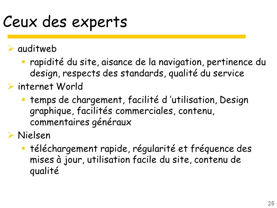 Ceux des experts auditweb