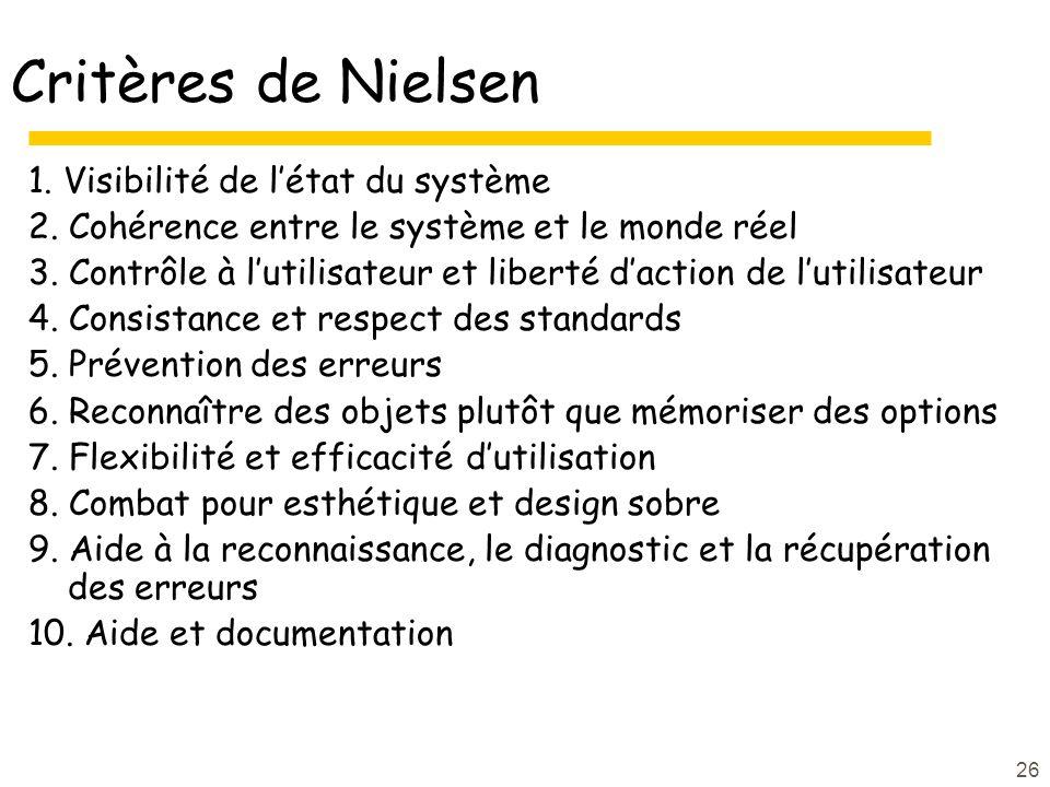 Critères de Nielsen 1. Visibilité de l'état du système
