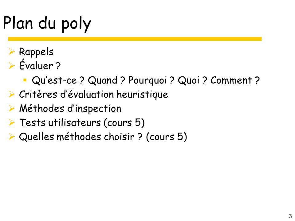 Plan du poly Rappels Évaluer