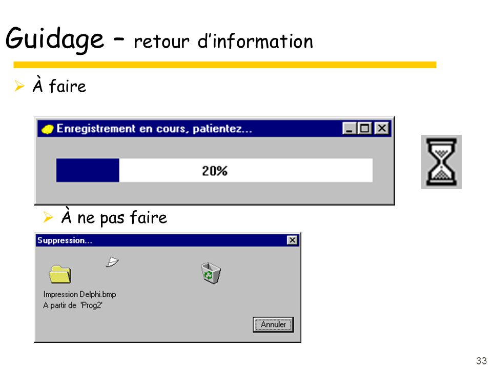 Guidage – retour d'information
