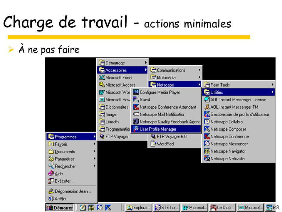 Charge de travail - actions minimales