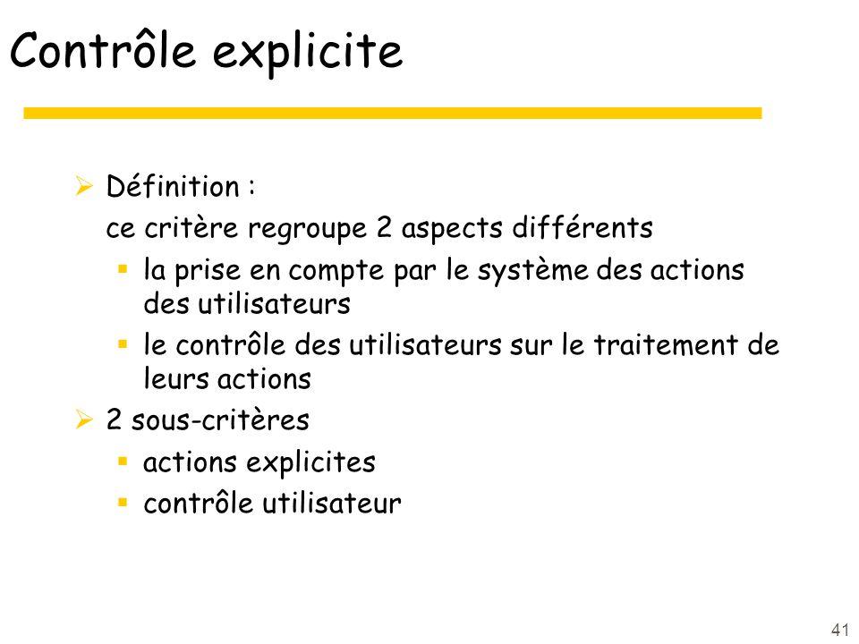 Contrôle explicite Définition :