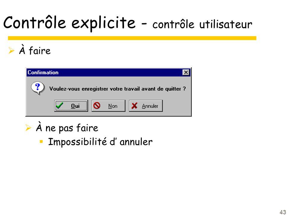 Contrôle explicite - contrôle utilisateur