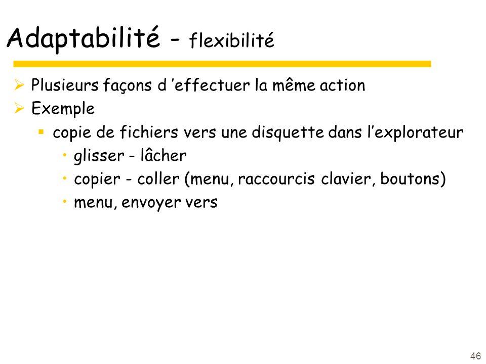 Adaptabilité - flexibilité