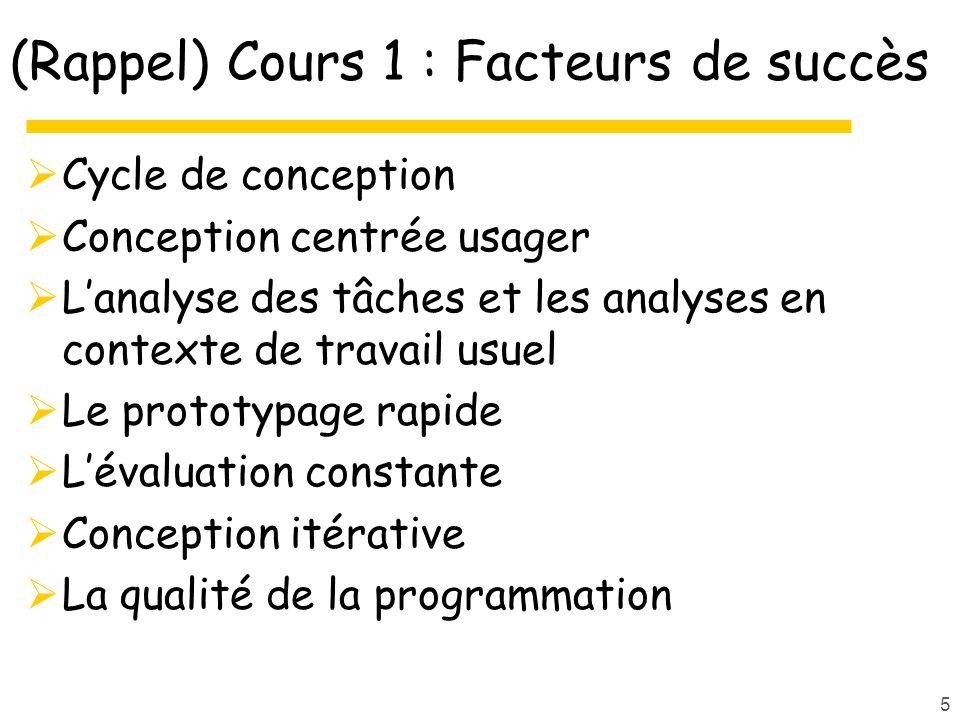 (Rappel) Cours 1 : Facteurs de succès