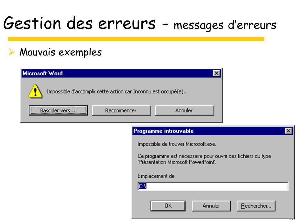 Gestion des erreurs - messages d'erreurs