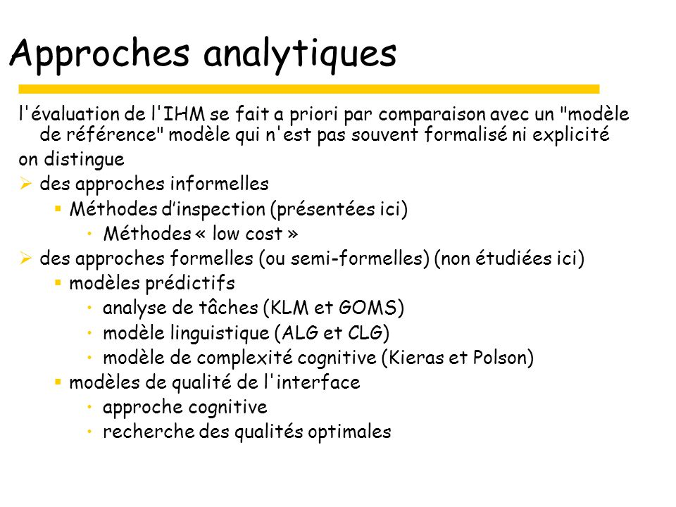 Approches analytiques