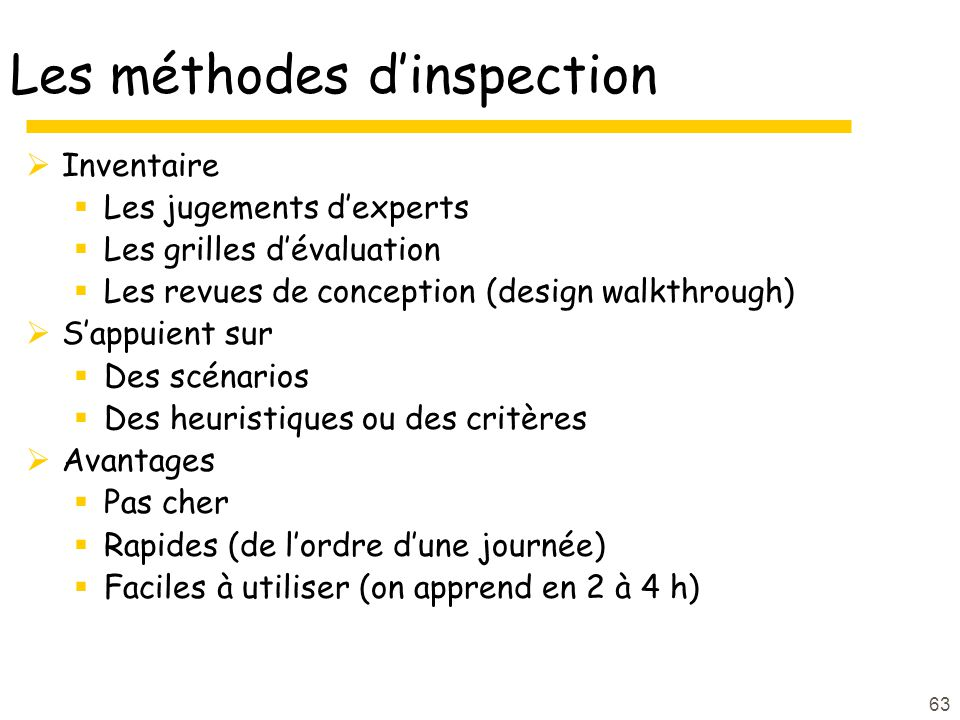 Les méthodes d'inspection