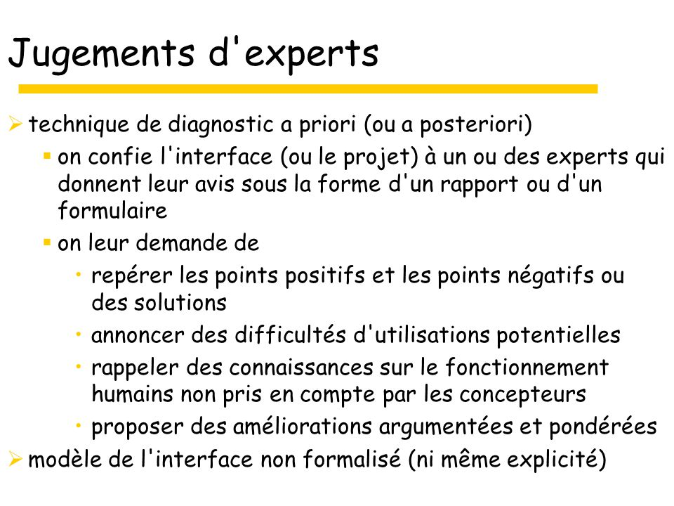 Jugements d experts technique de diagnostic a priori (ou a posteriori)