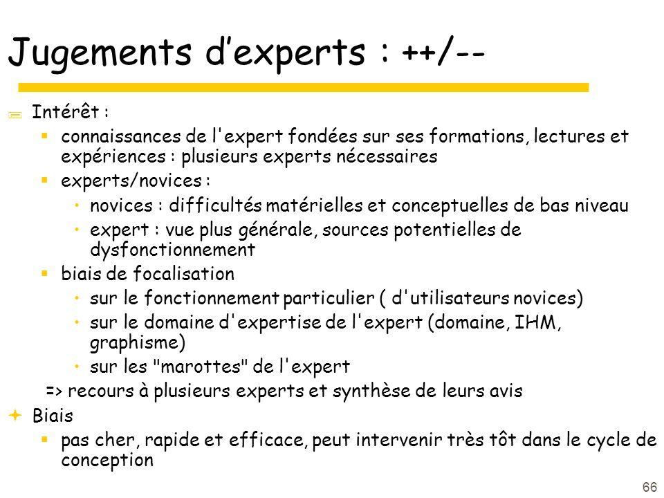 Jugements d'experts : ++/--
