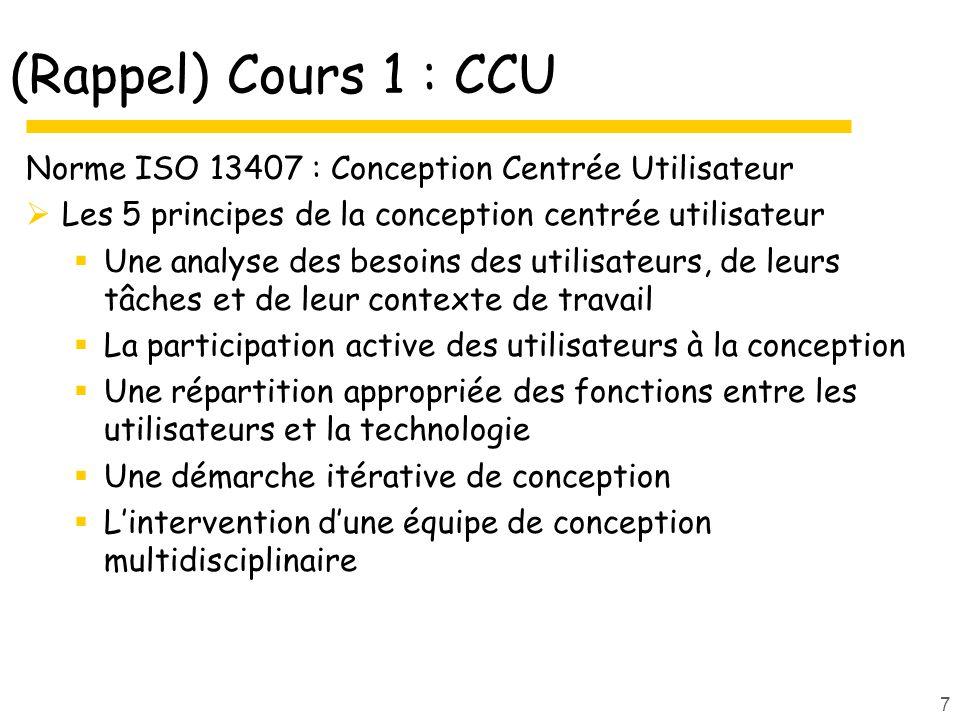 (Rappel) Cours 1 : CCU Norme ISO 13407 : Conception Centrée Utilisateur. Les 5 principes de la conception centrée utilisateur.