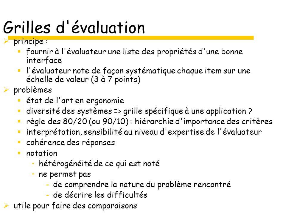 Grilles d évaluation principe :