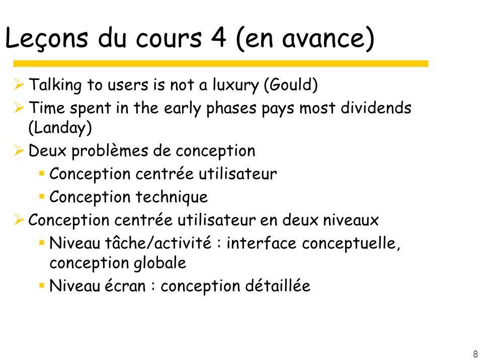 Leçons du cours 4 (en avance)