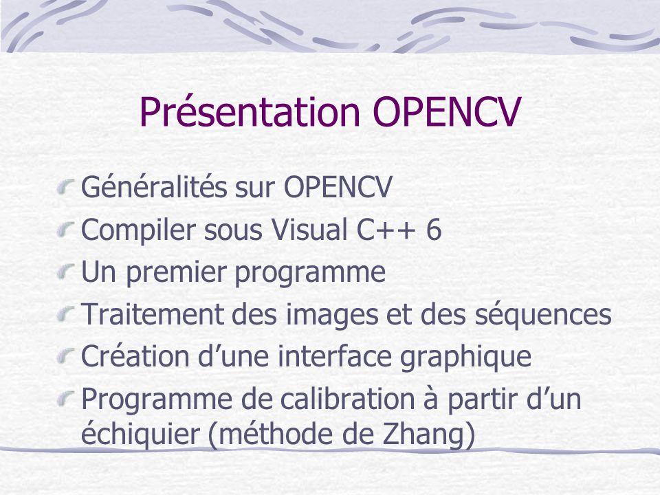 Présentation OPENCV Généralités sur OPENCV Compiler sous Visual C++ 6