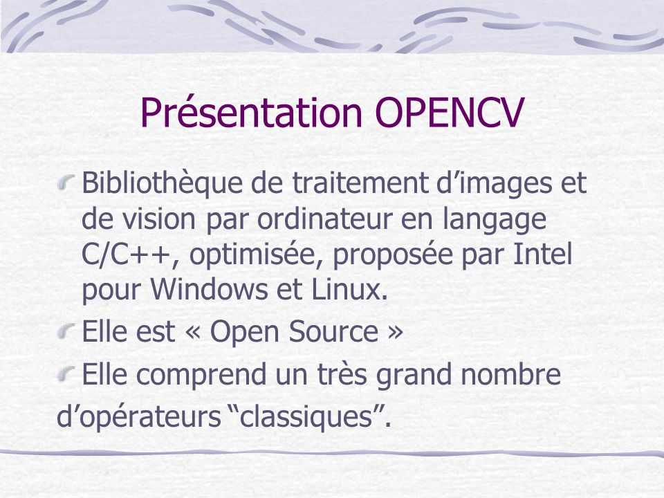 Présentation OPENCV