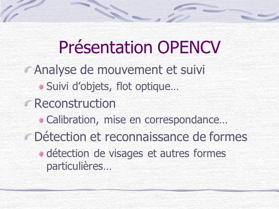 Présentation OPENCV Analyse de mouvement et suivi Reconstruction