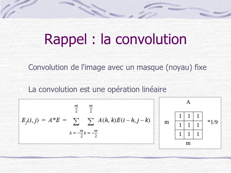 Rappel : la convolution
