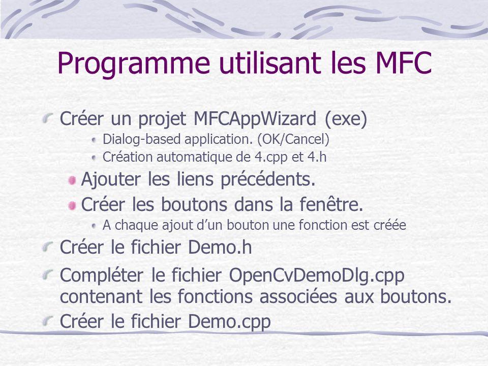 Programme utilisant les MFC