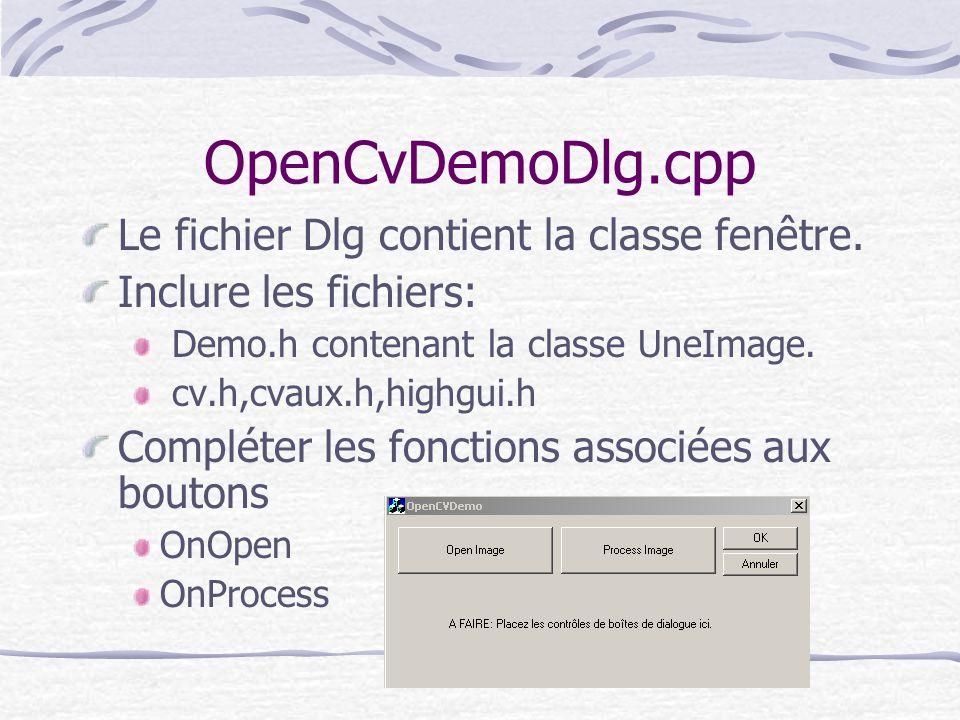 OpenCvDemoDlg.cpp Le fichier Dlg contient la classe fenêtre.