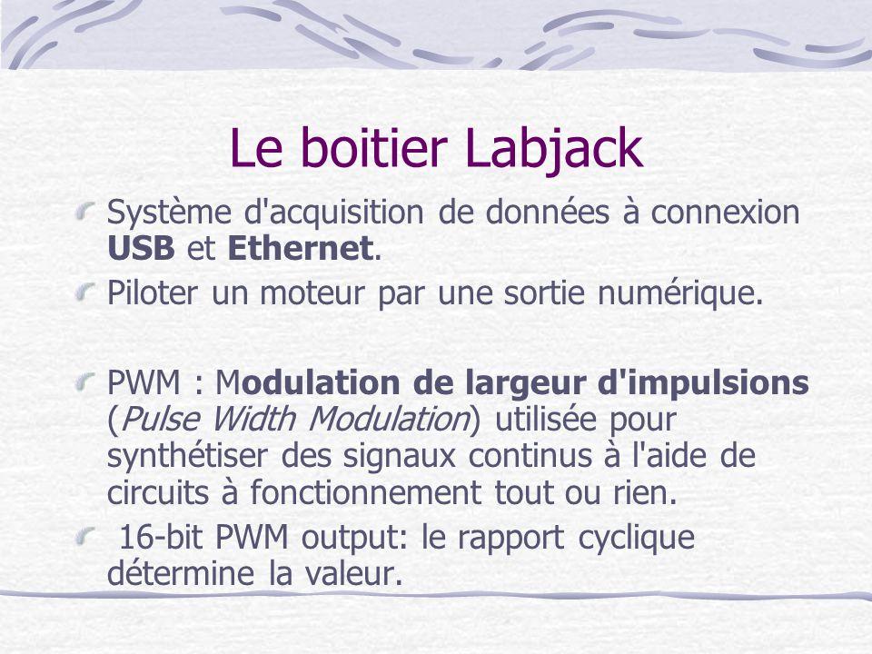 Le boitier Labjack Système d acquisition de données à connexion USB et Ethernet. Piloter un moteur par une sortie numérique.