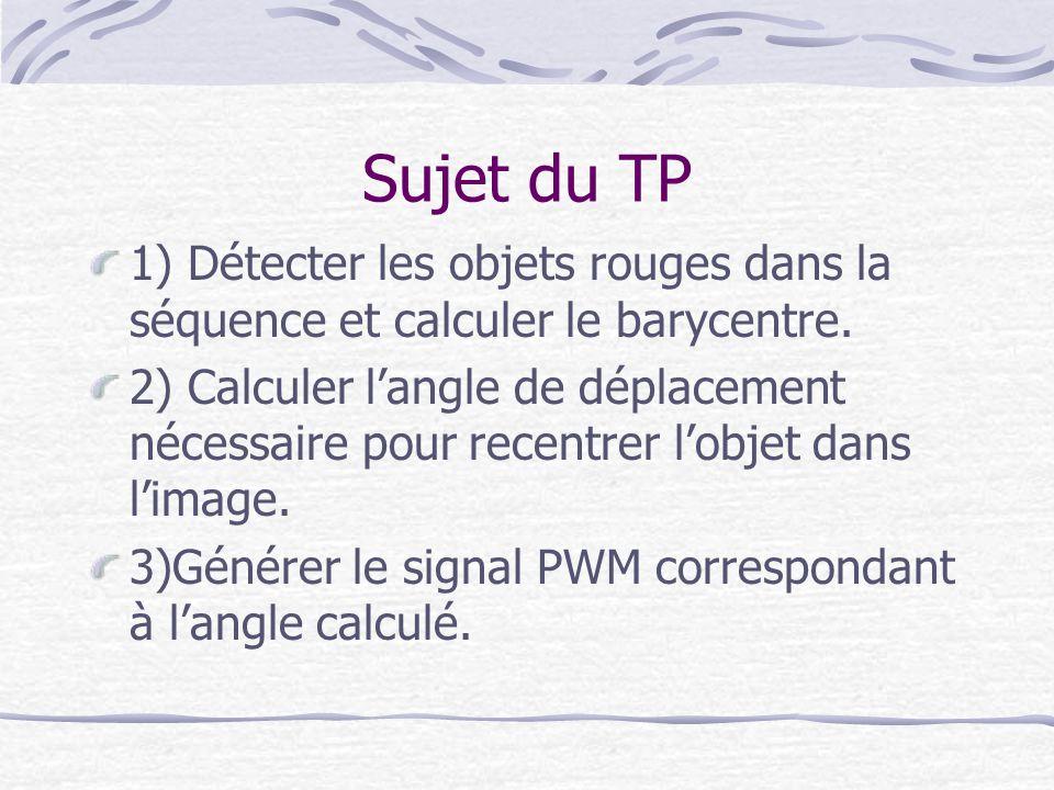 Sujet du TP 1) Détecter les objets rouges dans la séquence et calculer le barycentre.