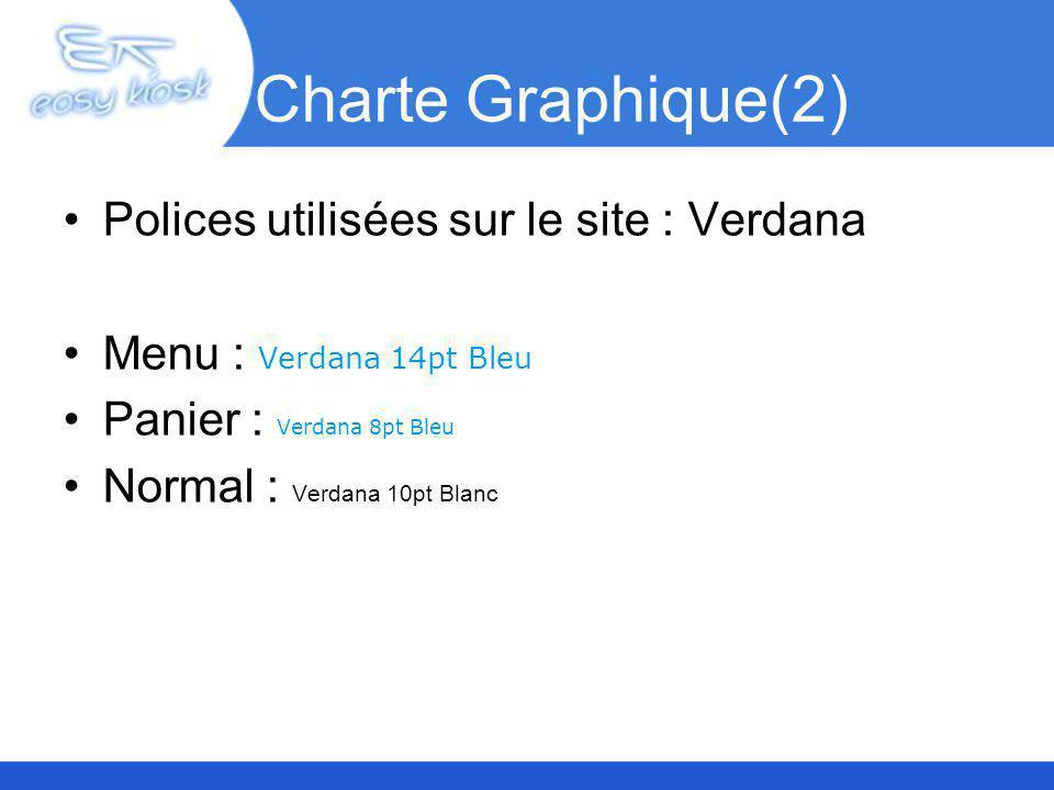 Charte Graphique(2) Polices utilisées sur le site : Verdana