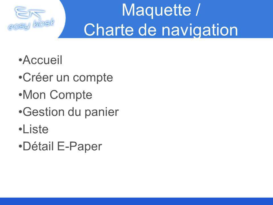 Maquette / Charte de navigation