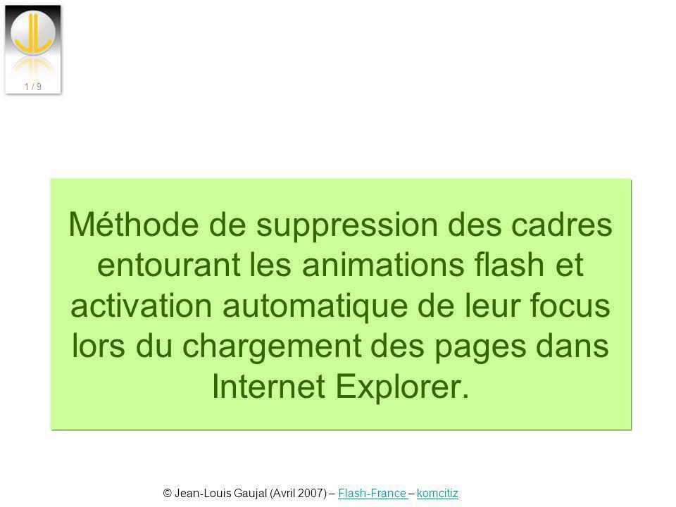 Méthode de suppression des cadres entourant les animations flash et activation automatique de leur focus lors du chargement des pages dans Internet Explorer.