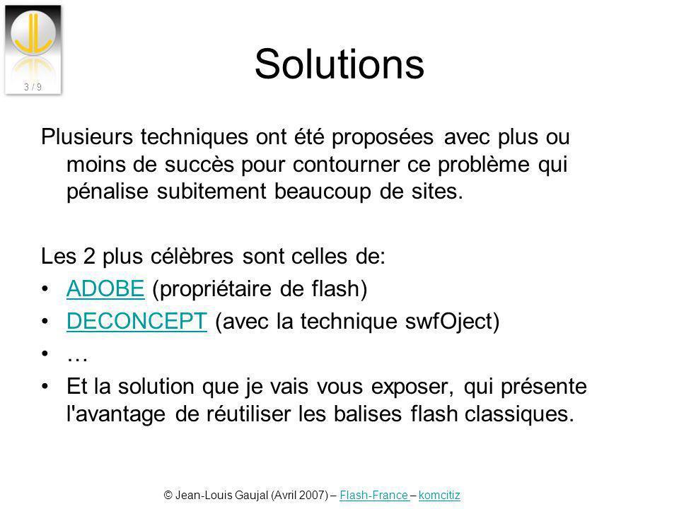 Solutions Plusieurs techniques ont été proposées avec plus ou moins de succès pour contourner ce problème qui pénalise subitement beaucoup de sites.