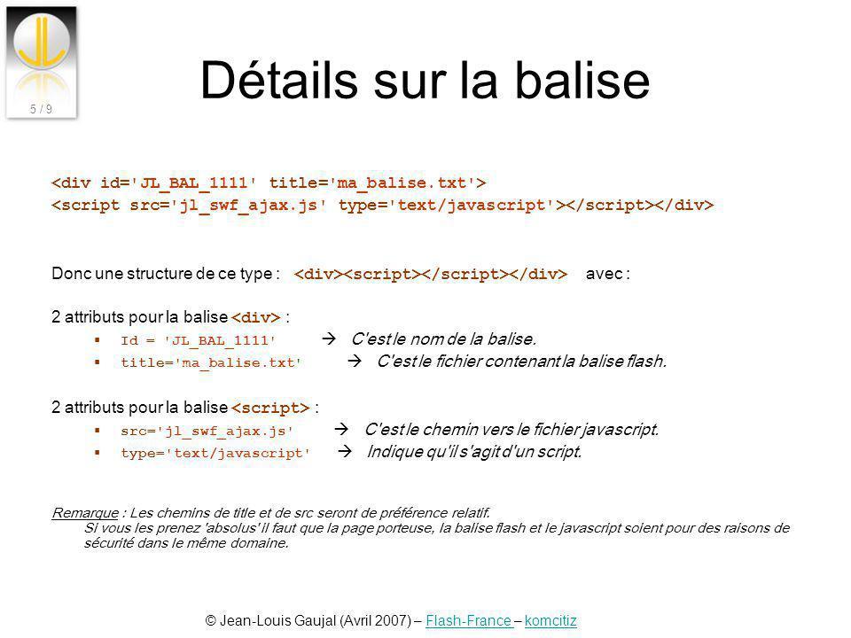 Détails sur la balise <div id= JL_BAL_1111 title= ma_balise.txt > <script src= jl_swf_ajax.js type= text/javascript ></script></div>