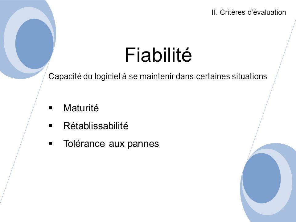 Fiabilité Maturité Rétablissabilité Tolérance aux pannes