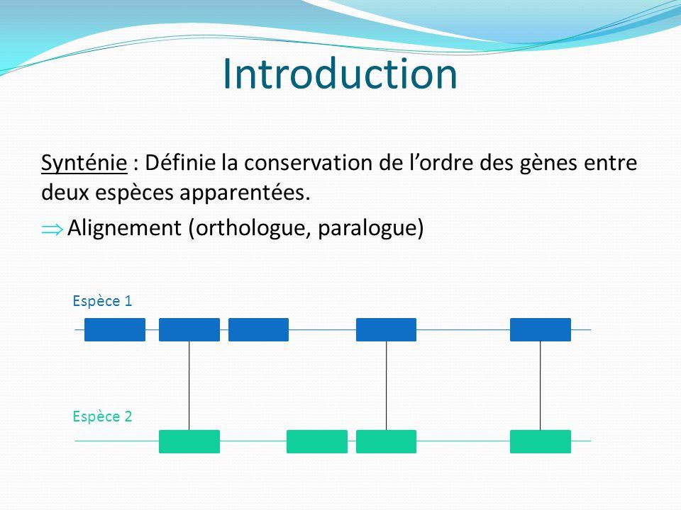 Introduction Synténie : Définie la conservation de l'ordre des gènes entre deux espèces apparentées.