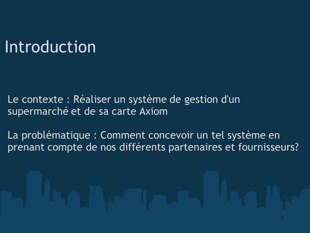 Introduction Le contexte : Réaliser un système de gestion d un supermarché et de sa carte Axiom.