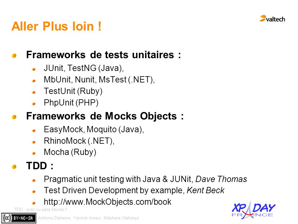 Aller Plus loin ! Frameworks de tests unitaires :