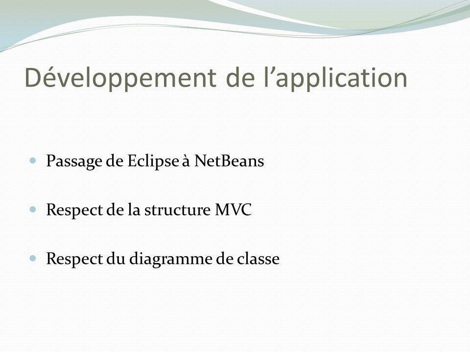 Développement de l'application