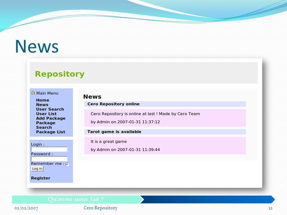 News Qu'avons-nous fait 02/02/2007 Cero Repository