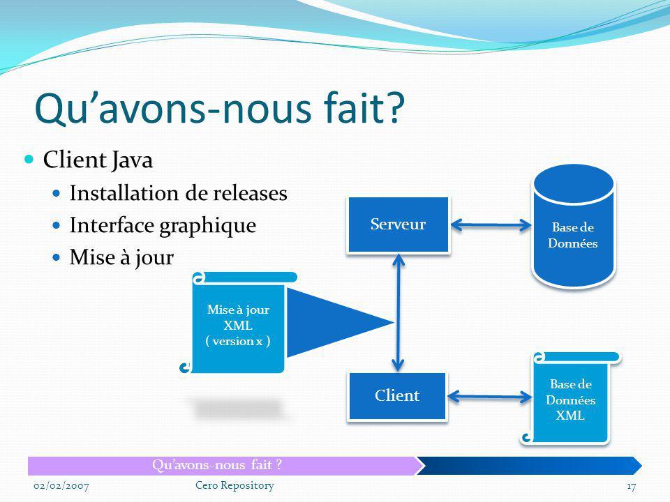 Qu'avons-nous fait Client Java Installation de releases