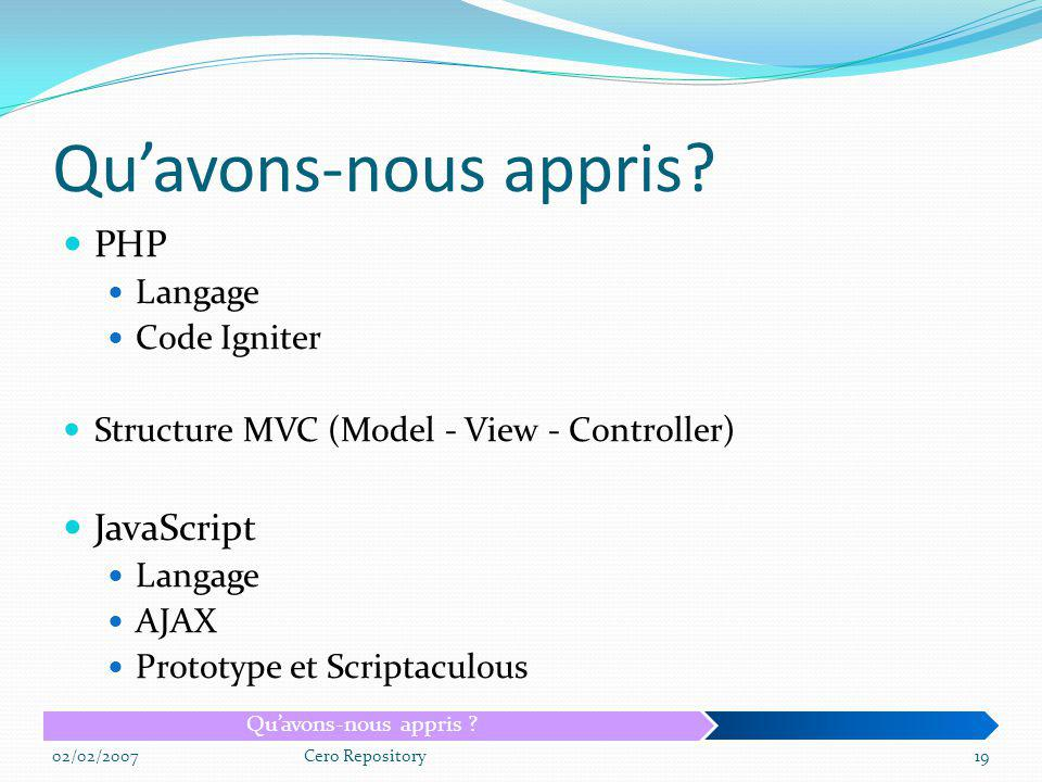 Qu'avons-nous appris PHP JavaScript Langage Code Igniter