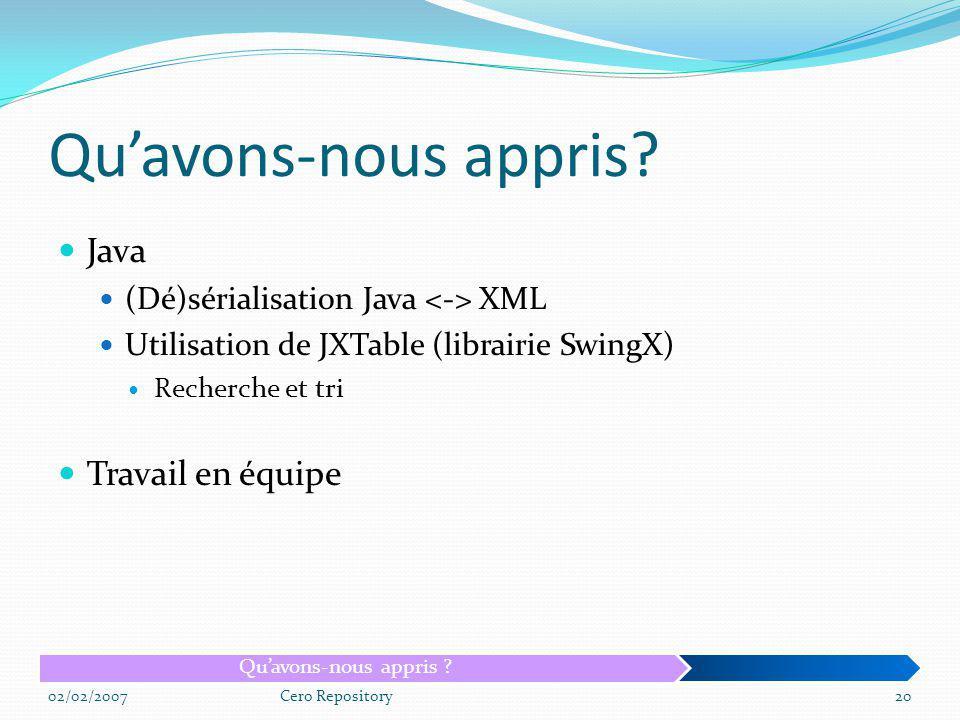 Qu'avons-nous appris Java Travail en équipe