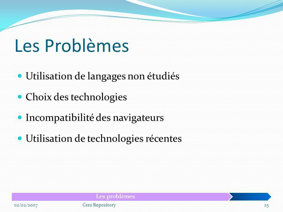 Les Problèmes Utilisation de langages non étudiés