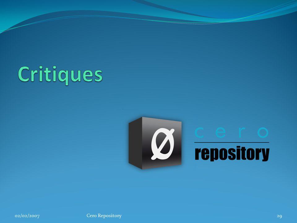 Critiques 02/02/2007 Cero Repository
