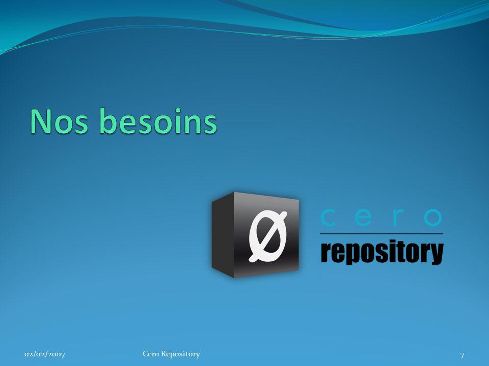 Nos besoins 02/02/2007 Cero Repository