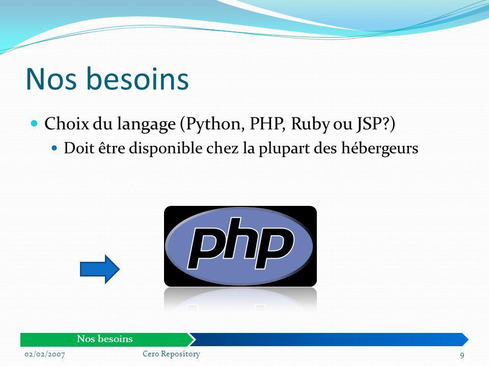 Nos besoins Choix du langage (Python, PHP, Ruby ou JSP )