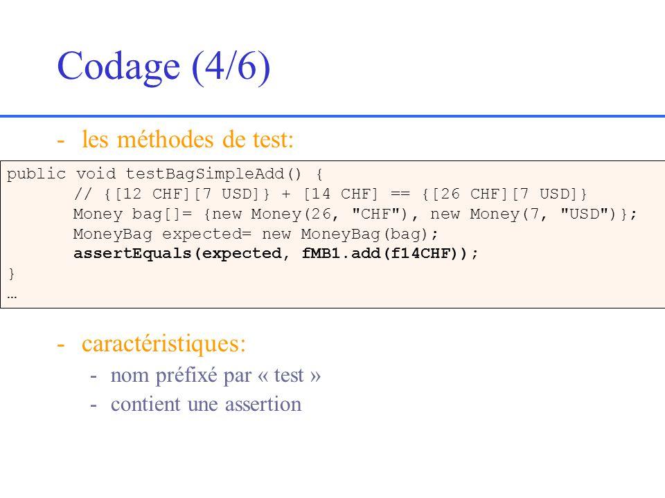 Codage (4/6) les méthodes de test: caractéristiques: