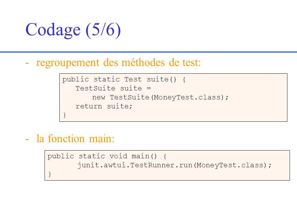 Codage (5/6) regroupement des méthodes de test: la fonction main: