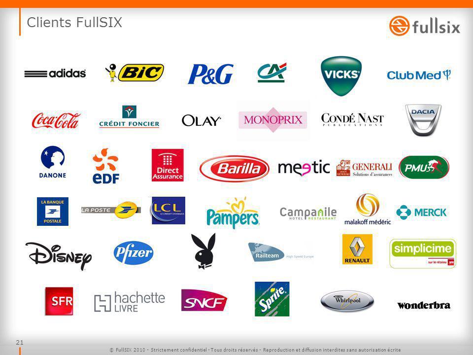 Clients FullSIX © FullSIX 2010 - Strictement confidentiel - Tous droits réservés - Reproduction et diffusion interdites sans autorisation écrite.