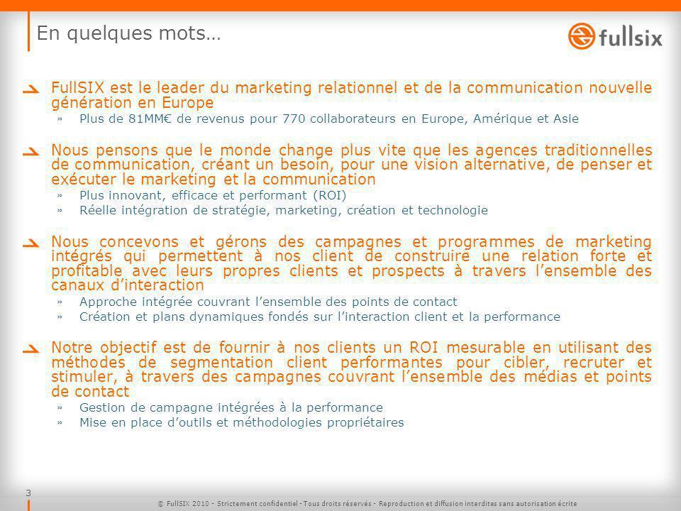 En quelques mots… FullSIX est le leader du marketing relationnel et de la communication nouvelle génération en Europe.