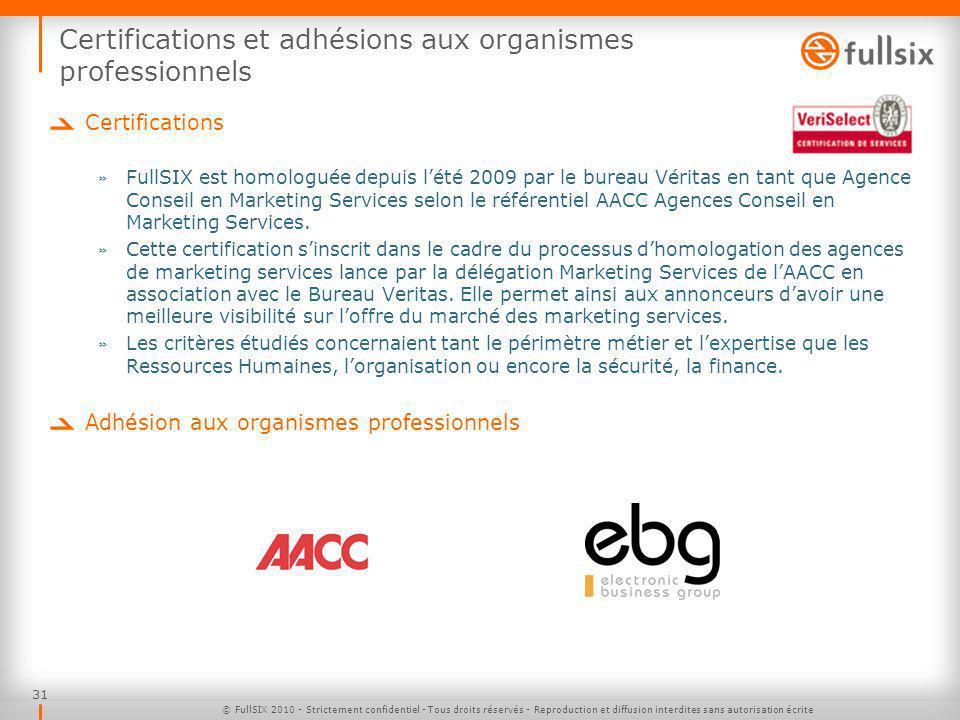 Certifications et adhésions aux organismes professionnels