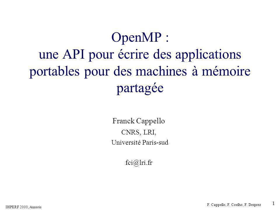 Franck Cappello CNRS, LRI, Université Paris-sud fci@lri.fr