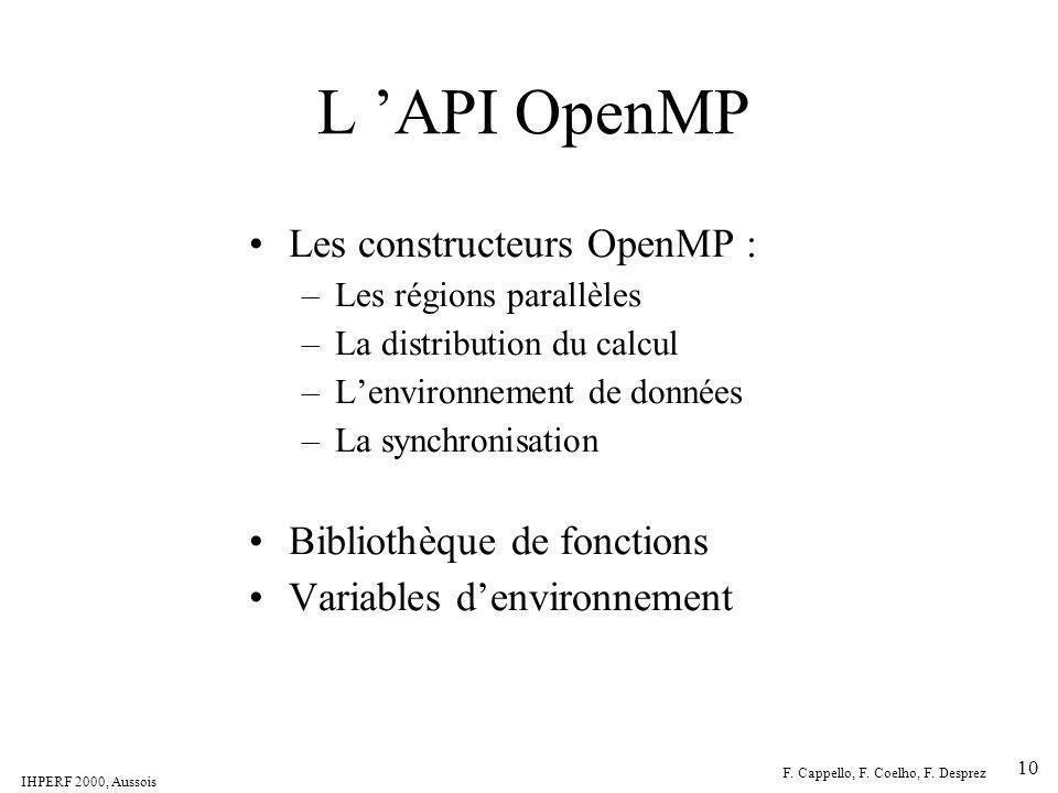 L 'API OpenMP Les constructeurs OpenMP : Bibliothèque de fonctions
